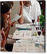 Family Around The Sedder Table Acrylic Print by Ilan Rosen