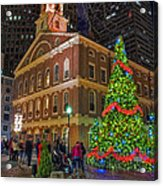 Faneuil Hall Night Acrylic Print by Joann Vitali