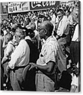 Fans At Yankee Stadium Stand For The National Anthem At The Star Acrylic Print by Underwood Archives
