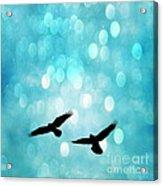 Fantasy Surreal Ravens Flying - Aquamarine Blue Bokeh Sparkling Lights Acrylic Print by Kathy Fornal
