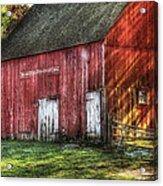 Farm - Barn - The Old Red Barn Acrylic Print by Mike Savad
