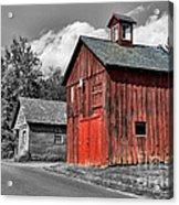 Farm - Barn - Weathered Red Barn Acrylic Print by Paul Ward