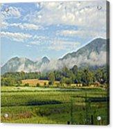 Farm In The Valley Acrylic Print by Susan Leggett