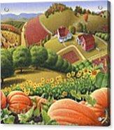 Farm Landscape - Autumn Rural Country Pumpkins Folk Art - Appalachian Americana - Fall Pumpkin Patch Acrylic Print by Walt Curlee
