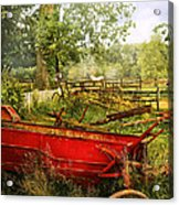 Farm - Tool - A Rusty Old Wagon Acrylic Print by Mike Savad