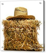 Farmer Hat On Hay Bale Acrylic Print by Olivier Le Queinec
