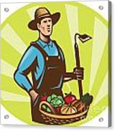 Farmer With Garden Hoe And Basket Crop Harvest Acrylic Print by Aloysius Patrimonio