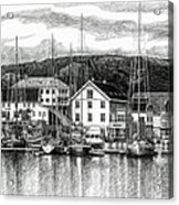 Farsund Dock Scene Pen And Ink Acrylic Print by Janet King
