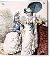 Fashion Plate Of Ladies Morning Dress Acrylic Print by English School