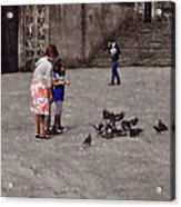 Feeding Pigeons In Santiago De Compostela Acrylic Print by Mary Machare