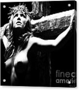 Female Christ Black And White Acrylic Print by Ramon Martinez