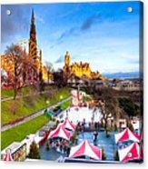 Festive Princes Street Gardens - Edinburgh Acrylic Print by Mark E Tisdale