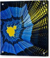 Field Of Force - Yellow Blue And Black Abstract Fractal Art Acrylic Print by Matthias Hauser