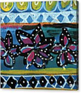 Fiesta In Blues- Abstract Pattern Painting Acrylic Print by Linda Woods