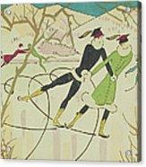 Figure Skating  Christmas Card Acrylic Print by American School