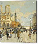 Figures On A Sunny Parisian Street Notre Dame At Left Acrylic Print by Eugene Galien-Laloue