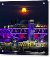 Final Moon Over The Pier Acrylic Print by Marvin Spates