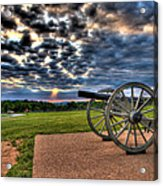 Fire Clouds Over A Gettysburg Cannon Acrylic Print by Andres Leon
