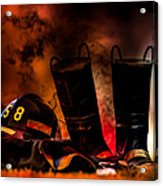 Firefighter Acrylic Print by Bob Orsillo
