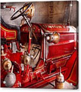 Fireman - Truck - Waiting For A Call Acrylic Print by Mike Savad