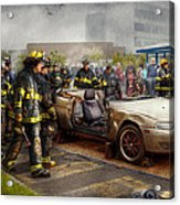 Firemen - The Fire Demonstration Acrylic Print by Mike Savad