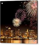 Fireworks Over Boston Harbor Acrylic Print by Susan Cole Kelly