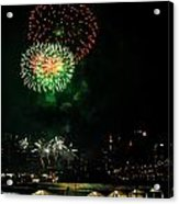 Fireworks Over Brooklyn Bridge And New York City Acrylic Print by Diane Lent