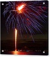 Fireworks Over Lake Acrylic Print by Raymond Earley