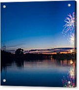 Fireworks Over The Fox  Acrylic Print by Lorraine Mahoney