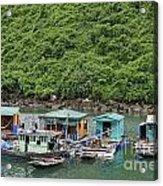 Fisherman Floatting Houses Acrylic Print by Sami Sarkis