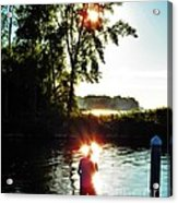 Fisherman In Sunfire Acrylic Print by Judy Via-Wolff