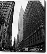 fisheye shot View of the empire state building from West 34th Street and Broadway new york usa Acrylic Print by Joe Fox