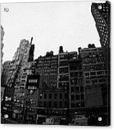 Fisheye View Of 34th Street From 1 Penn Plaza New York City Usa Acrylic Print by Joe Fox