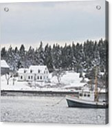 Fishing Boat After Snowstorm In Port Clyde Harbor Maine Acrylic Print by Keith Webber Jr