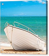 Fishing Boat On The Beach Algarve Portugal Acrylic Print by Amanda And Christopher Elwell