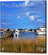 Fishing Boats At Dock Ocracoke Island Acrylic Print by Thomas R Fletcher
