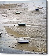Fishing Boats At Low Tide Acrylic Print by Olivier Le Queinec