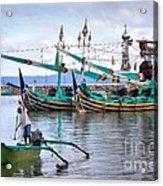 Fishing Boats In Bali Acrylic Print by Louise Heusinkveld