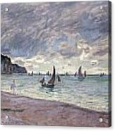 Fishing Boats In Front Of The Beach And Cliffs Of Pourville Acrylic Print by Claude Monet