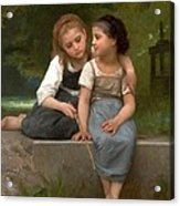 Fishing For Frogs Watercolor Version Acrylic Print by William Bouguereau