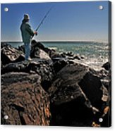 Fishing Off The Jetty Acrylic Print by Paul Ward