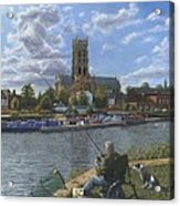 Fishing With Oscar - Doncaster Minster Acrylic Print by Richard Harpum