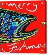 Fishmas Trout Acrylic Print by Owl Jones