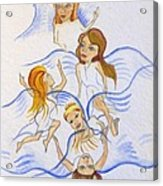 Five Angels Hanging Around  Acrylic Print by Kenneth Michur