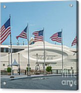 Five Us Flags Flying Proudly In Front Of The Megayacht Seafair - Miami - Florida Acrylic Print by Ian Monk
