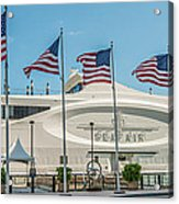 Five Us Flags Flying Proudly In Front Of The Megayacht Seafair - Miami - Florida - Panoramic Acrylic Print by Ian Monk