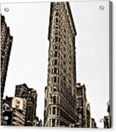 Flat Iron Building In Sepia Acrylic Print by Bill Cannon