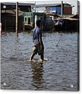 Flooding Of The Streets Of Bangkok Thailand - 01136 Acrylic Print by DC Photographer