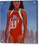 Florence Griffith - Joyner Acrylic Print by Paul Meijering