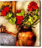 Flower - Geraniums On A Table  Acrylic Print by Mike Savad
